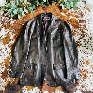 Michael Kors Brown 100% Leather Collared Jacket
